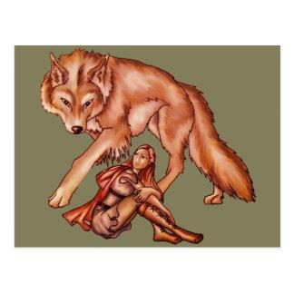 Rote Reithaube mit dem Wolf-Cartoon-Zeichnen Postkarten