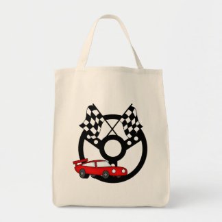 Rote Rennwagen-T-Shirts und Geschenke Einkaufstasche