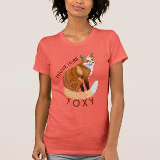 Rote Retro Art Fox, die Girly ist, personifizieren T-Shirt