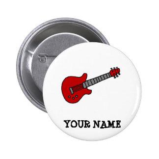 Rote Rockin Gitarre Runder Button 5,7 Cm
