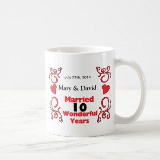 Rote Rolle-u. Herz-Namen u. datieren 10 Kaffeetasse