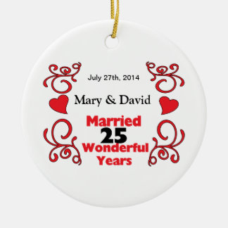 Rote Rolle-u. Herz-Namen u. datieren 25 Keramik Ornament
