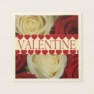 Rote romantische Valentine-Rose Serviette