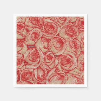 Rote romantische Valentine-Rose Papierserviette