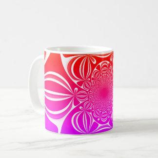 Rote rosa Blumen-Verzierung Kaffeetasse