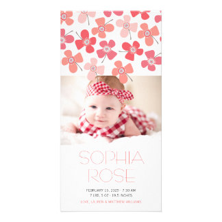 Rote rosa Gänseblümchen-Baby-Geburts-Mitteilung Karte