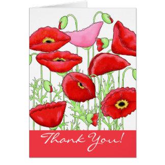 Rote rosa Mohnblumen-Blumen danken Ihnen Karte