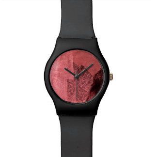 Rote rosa schwarze Liebe inspirierte abstrakte Uhr