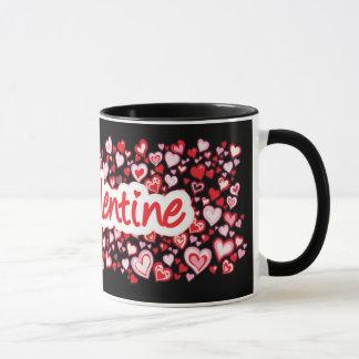 """Rote rosa schwarze Tasse der Herzen """"meines Tasse"""