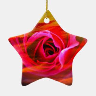 Rote Rose 2 Keramik Ornament