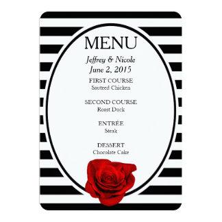 Rote Rose auf den schwarzen u. weißen Streifen 12,7 X 17,8 Cm Einladungskarte