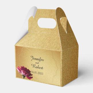 Rote Rose auf GoldGastgeschenk Hochzeits-Kasten Geschenkschachtel