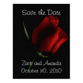 Rote Rose auf Schwarzer Einladung Postkarte
