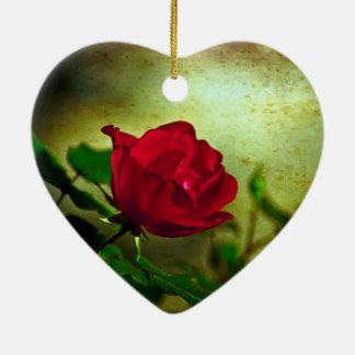Rote Rose der Tag mystischer Gartengotische Keramik Herz-Ornament