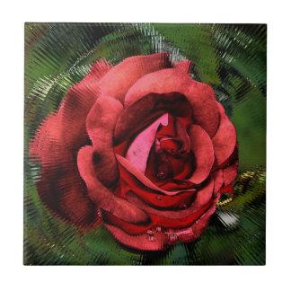 Rote Rose durch Glasblumenkunst-Fliese Keramikfliese