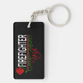Rote Rose FEUERWEHRMANN-EHEFRAU Schlüsselkette Schlüsselanhänger