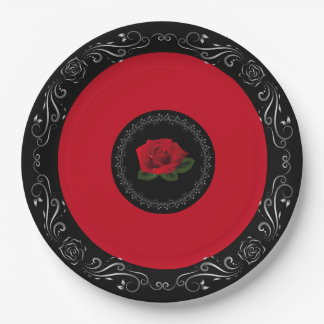 """Rote Rose Fräulein-Amerika 9"""" PapierTeller"""