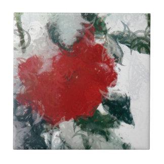 Rote Rose im Schnee Fliese