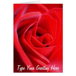 Rote Rose kardiert Blumen-kundenspezifische Gruß-K Mitteilungskarte