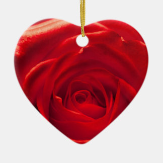 Rote Rose Makroaufnahme Keramik Herz-Ornament