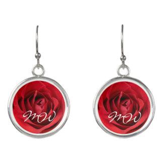 Rote Rose mit Initialen Ohrringe
