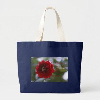 Rote Rose mit Poesie-Tasche Jumbo Stoffbeutel