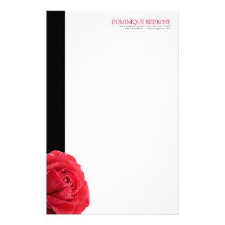 Rote Rose mit schwarzem Akzent Briefpapier