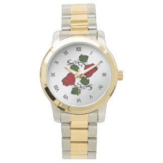Rote Rose mit schwarzen römischen Ziffern Armbanduhr