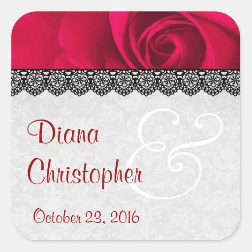 Rote Rose mit Spitze-Hochzeits-individuellen Namen Stickers