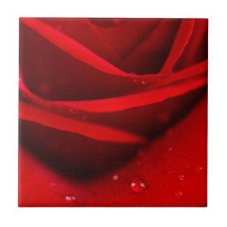 Rote Rose mit Tau-Tropfen Keramikfliese