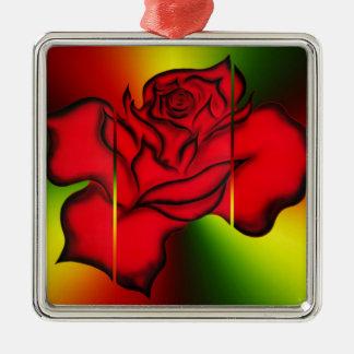 Rote Rose Quadratisches Silberfarbenes Ornament