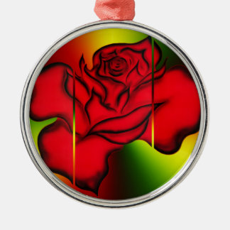 Rote Rose Silbernes Ornament