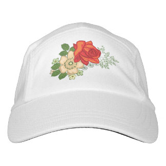 Rote Rose und Gänseblümchen Headsweats Kappe