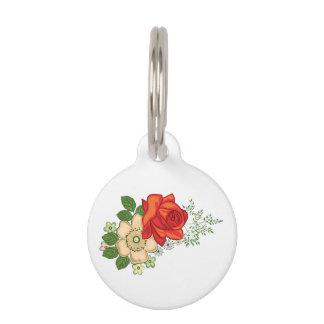 Rote Rose und Gänseblümchen Tiermarke