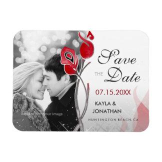 Rote Rosen der Feuer-und Eis-Save the Date Magnet