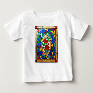 Rote Rosen des befleckten Glases Baby T-shirt