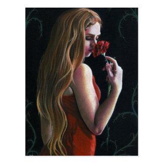 Rote Rosen-Gartennelken-gotische Postkarte