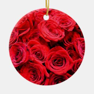 Rote Rosen Keramik Ornament