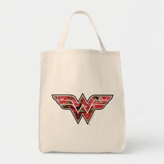 Rote Rosen und kariertes Wunder-Frauen-Logo Einkaufstasche