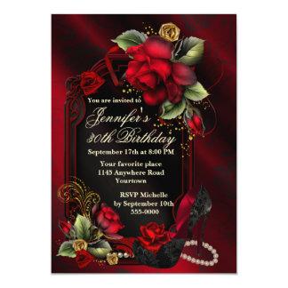 Rote Rosen und schwarzer 12,7 X 17,8 Cm Einladungskarte