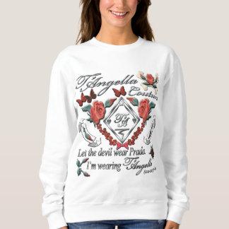 Rote Rosen und schwarzes und rotes Schmetterlinge Sweatshirt