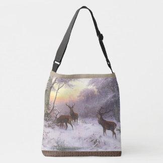 Rote Rotwild-Elch-Tier-Tier-Schnee-Taschen-Tasche Tragetaschen Mit Langen Trägern