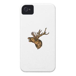 Rote Rotwild-Hirsch-Hauptbrüllenzeichnen iPhone 4 Case-Mate Hüllen