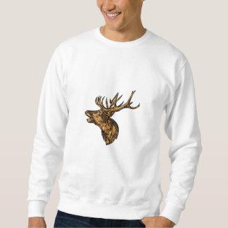 Rote Rotwild-Hirsch-Hauptbrüllenzeichnen Sweatshirt