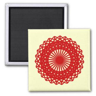Rote runde Spitze-Muster-Grafik Quadratischer Magnet