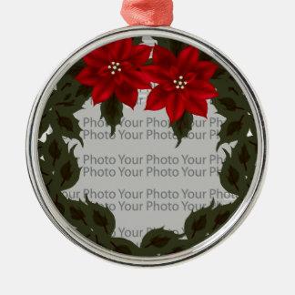 Rote Rundes Silberfarbenes Ornament