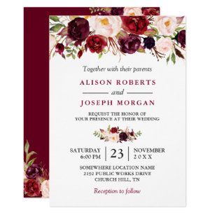 Rote Rustikale Boho Mit Blumenhochzeit Einladung