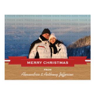 Rote rustikale Fahnen-Feiertags-Foto-Postkarte Postkarte