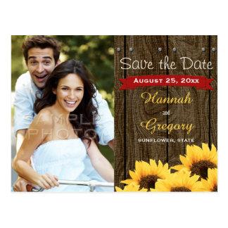 ROTE RUSTIKALE SONNENBLUME-SAVE THE DATE POSTKARTE