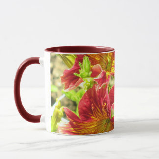Rote Salpiglossis Sinuata Blumen-Tasse Tasse